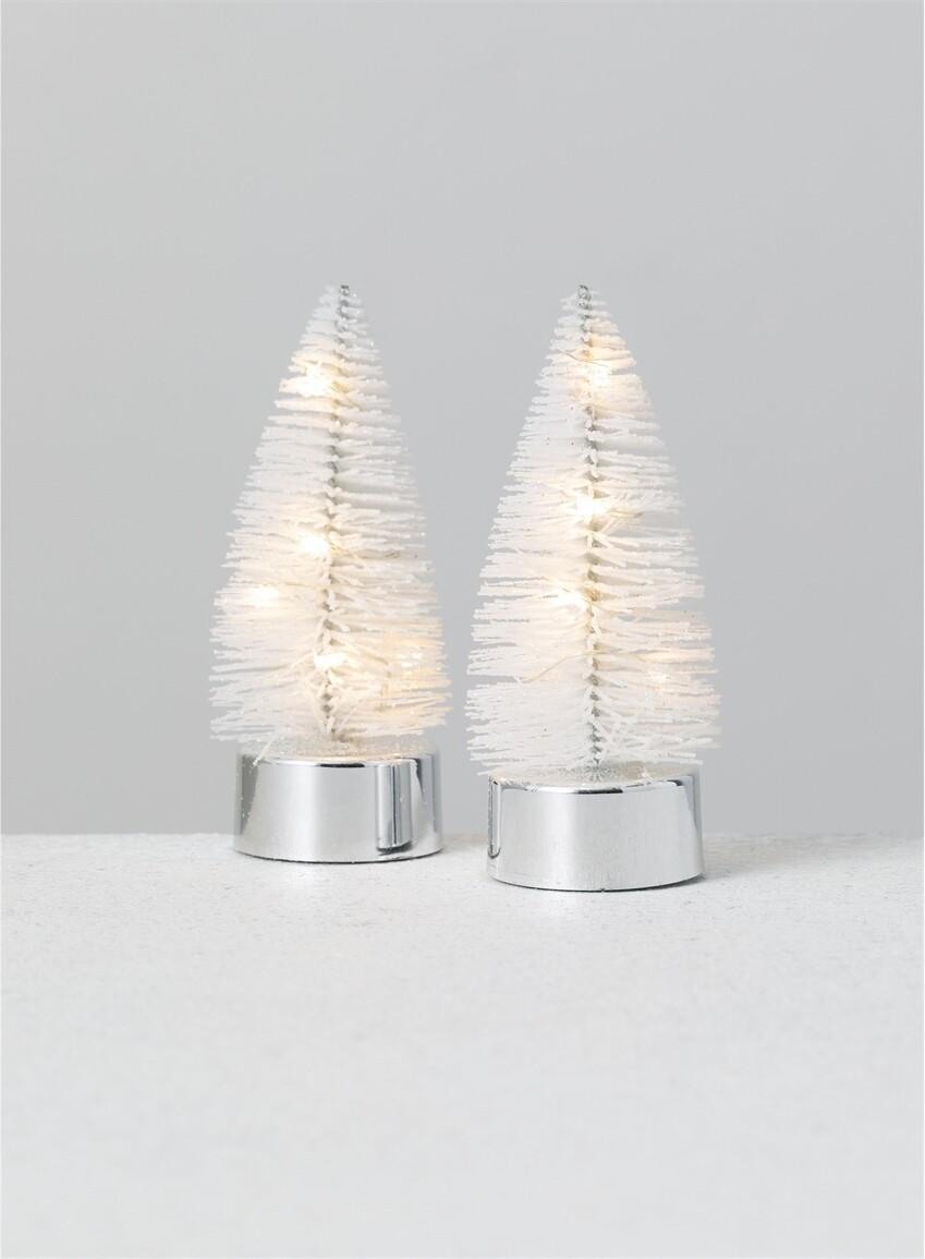 Set of 2 LED White Trees