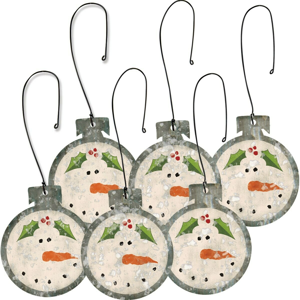 Set of 6 Mini Snowman Ornaments