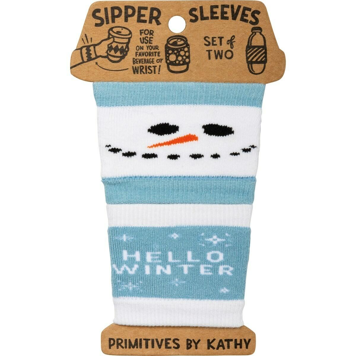 Snowman Sipper Sleeve Set