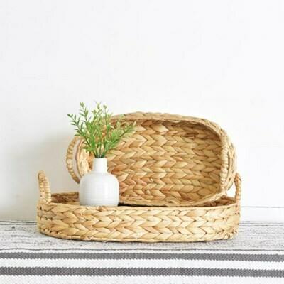 Lg Hyacinth Oval Tray w Handles