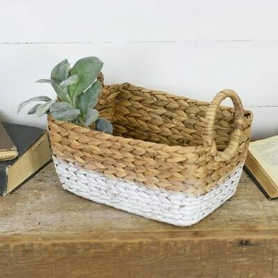 Natural & White Hyacinth Basket w Handles