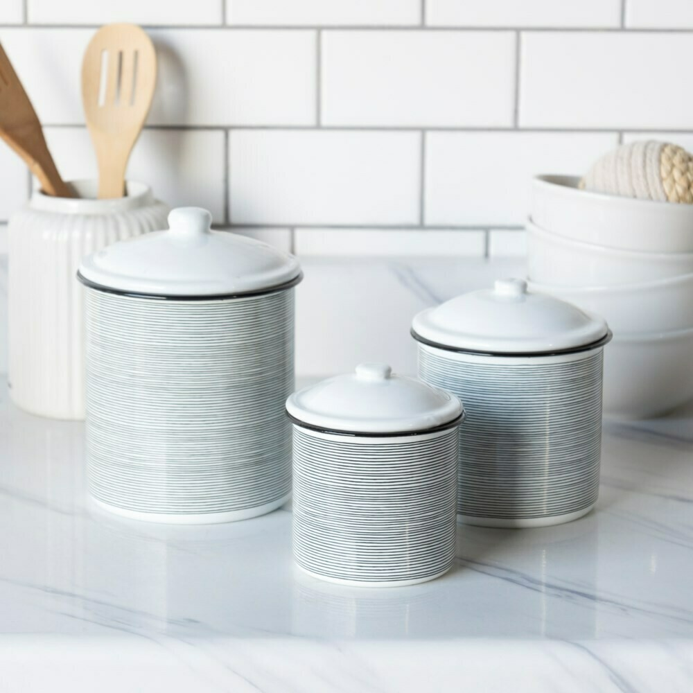 Set of 3 B&W Striped Canisters
