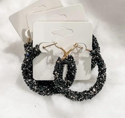 Black Sparkle Hoop Earrings