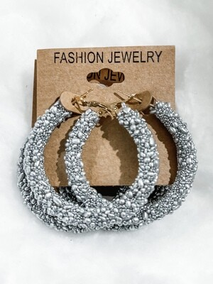 Silver Seed Bead Hoop Earrings