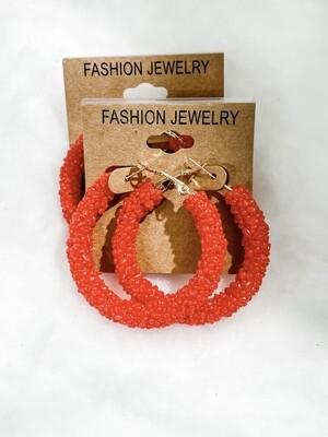 Red Seed Bead Hoop Earrings