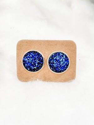 Lg Blue Druzy Earring