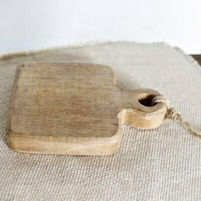 Sm Square Wood Board w Jute Hanger