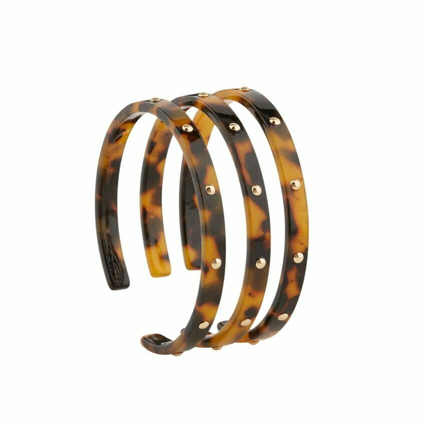 Brown Studded Resin Cuff