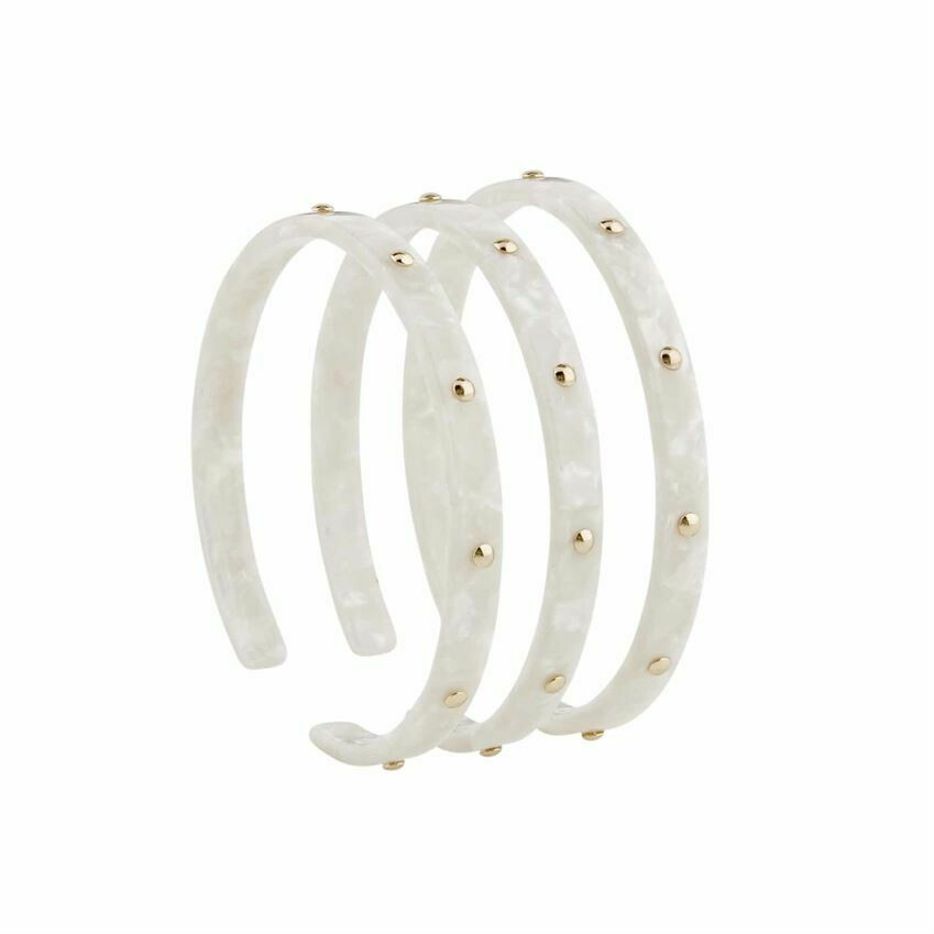 White Studded Resin Cuff