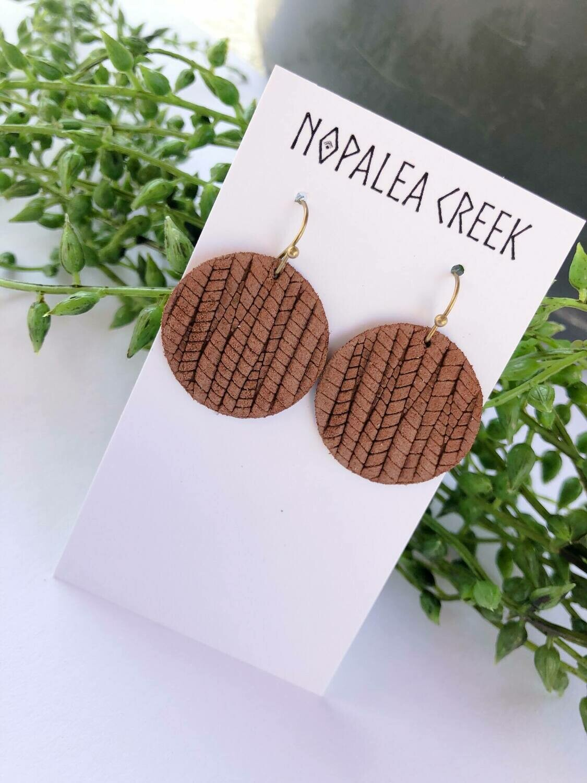 Brown Palm Circle Earrings