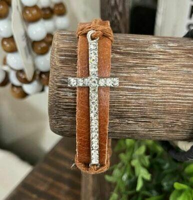 Light Brown Cross Bracelet
