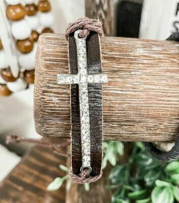 Dk Brown Cross Bracelet