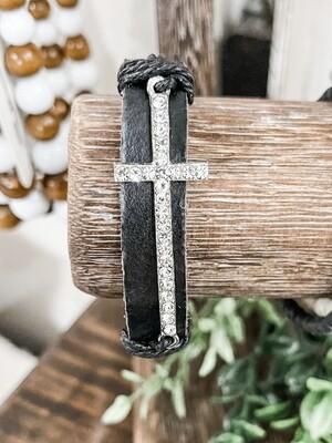 Blk Cross Bracelet