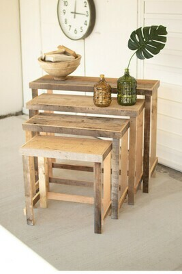 Set Of 4 Rustic Wood Nesting Tables