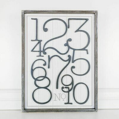 Numbers Wood Framed Sign