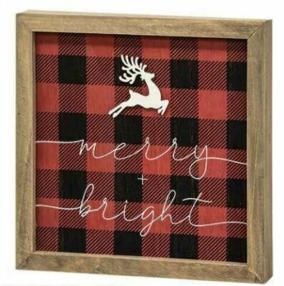 Joy/Merry Wooden Buffalo Check Sign