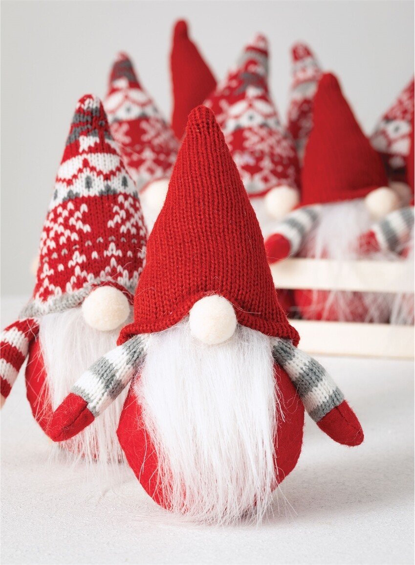 Red Knit Hat Gnome Ornament