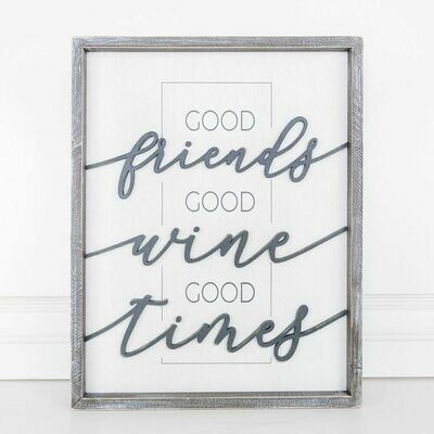 Good Friends Wine Time Wood Framed Sign