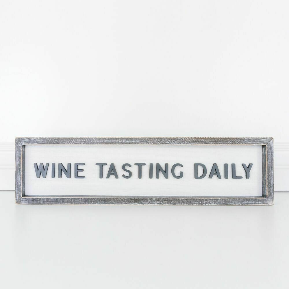 Wine Tasting Daily Wood Framed Sign