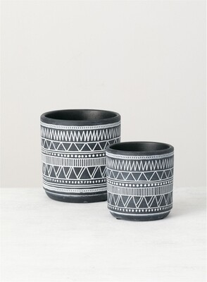 Sm Blk Tribal Pot