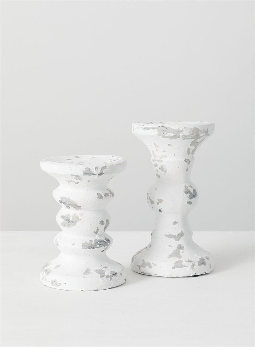 Sm White Pillar Candle Holder