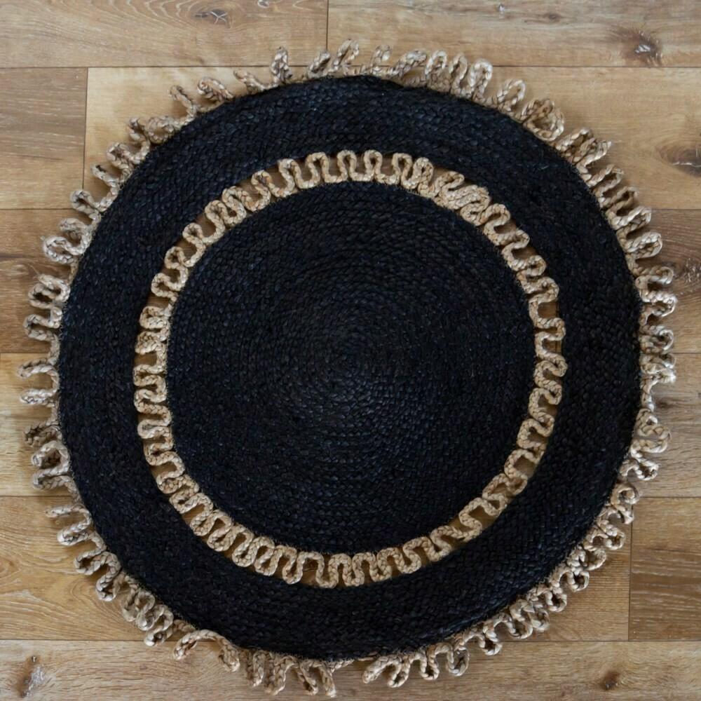 Black Jute Braided Rug