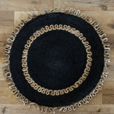 Black Jute Braided Rug
