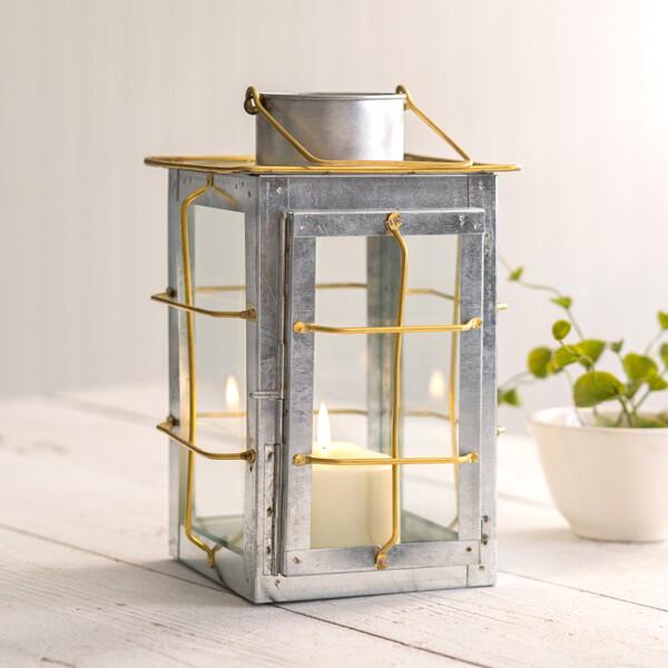 Galvanized & Brass Trim Lantern