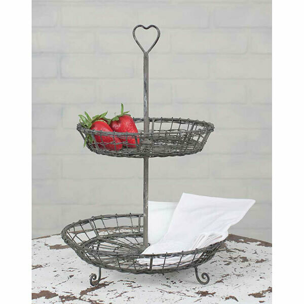 Wire Heart 2-Tiered Display