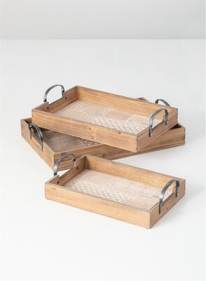 Lg Patterned Wood Tray
