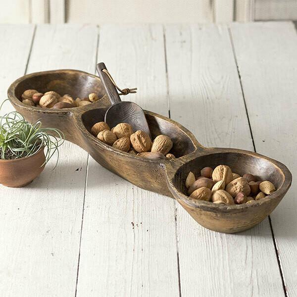 3 Bowl Wood Party Dish