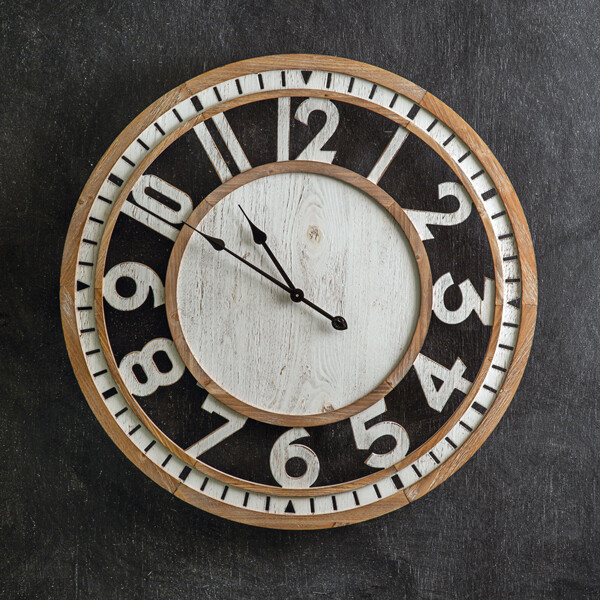 Natural & White Distressed Wall Clock