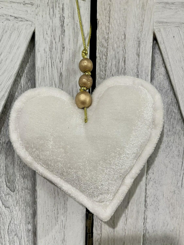 White Velvet Heart w Beads
