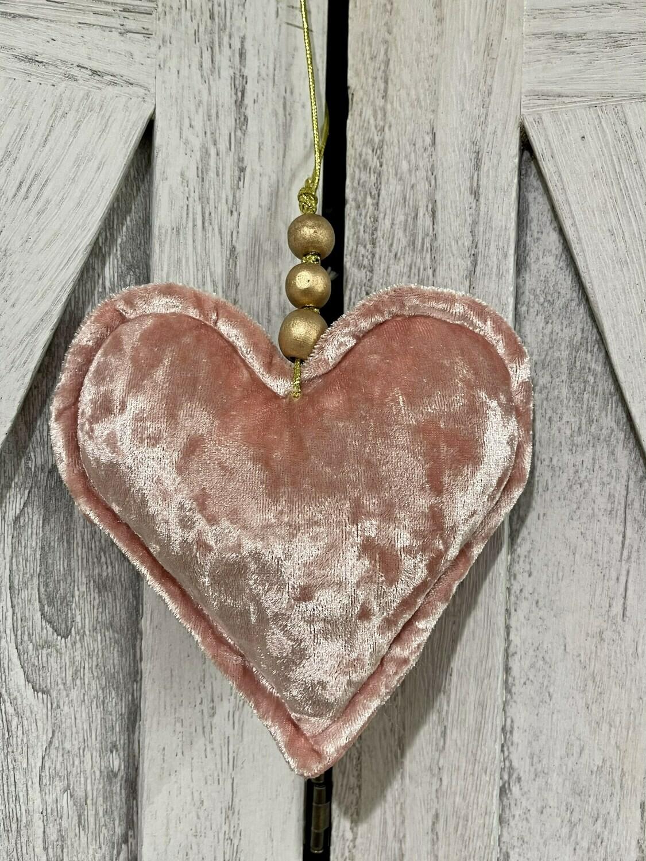 Pink Velvet Heart w Beads