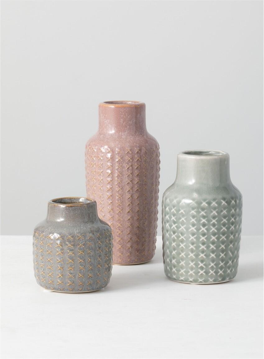 Lg Pink X Vase