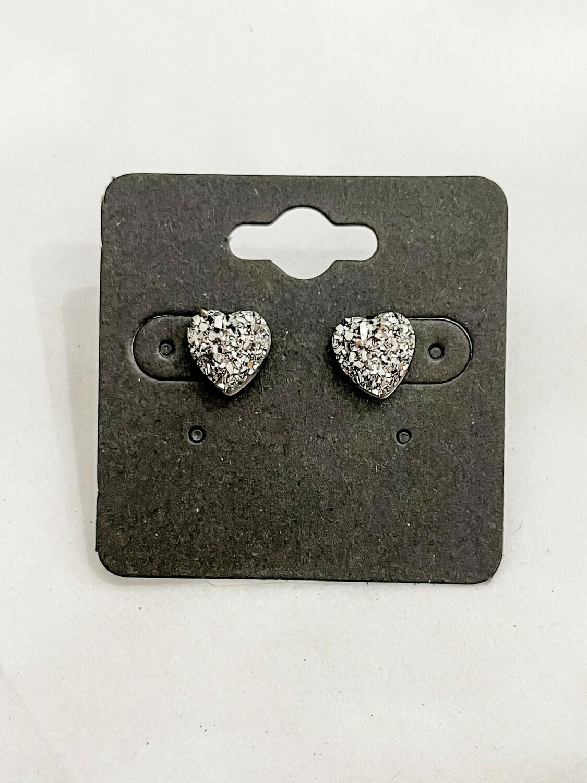 Charcoal Heart Druzy Earring