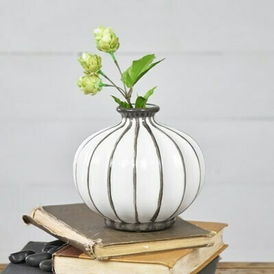 "6"" Gray Striped Ball Vase"