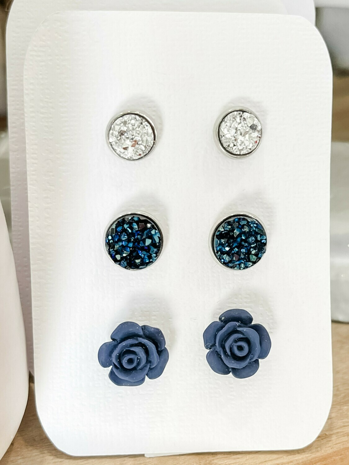 Navy Stud Earring Set
