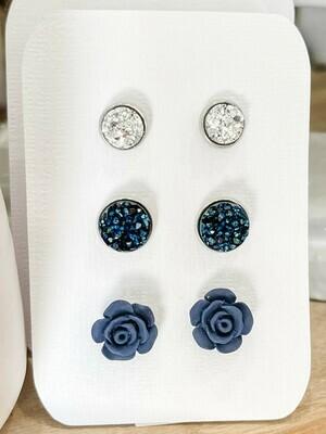 Navy Stud Earring Set