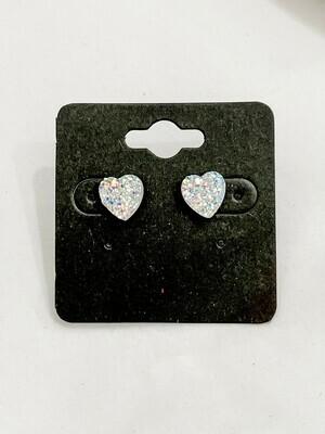 Clear Heart Druzy Earring