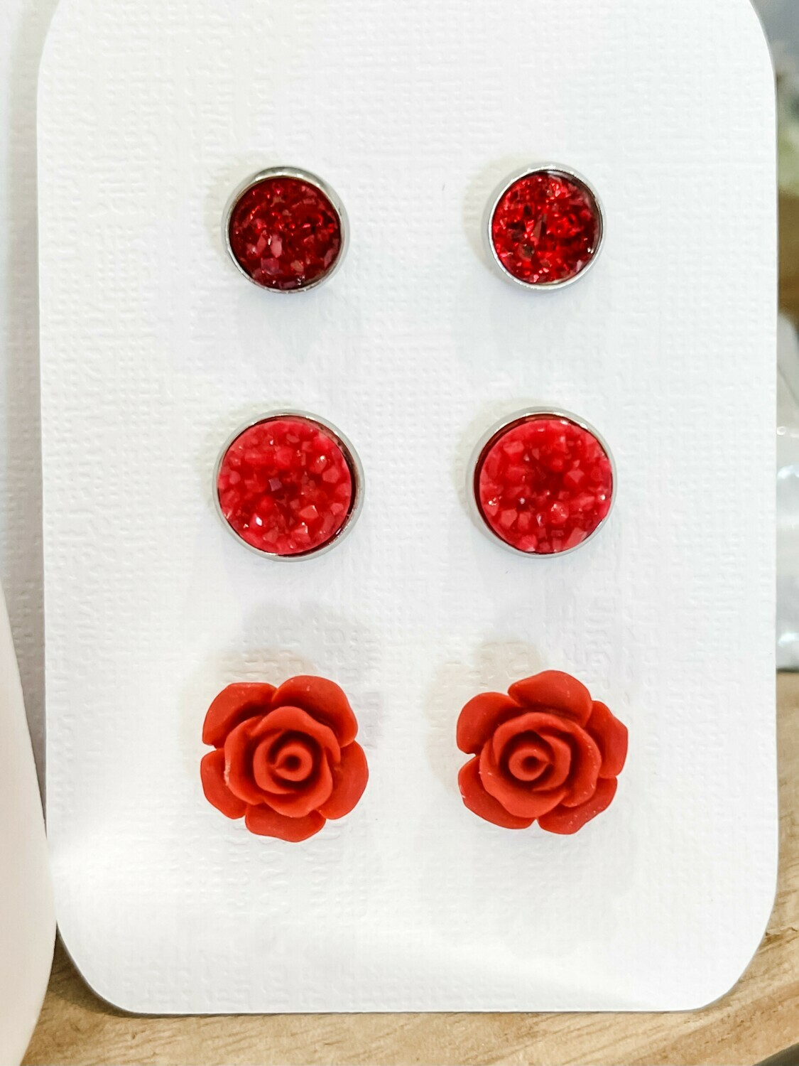 Red Stud Earring Set