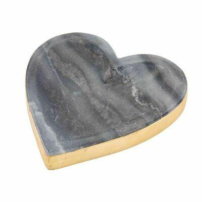 Gold Edge Marble Heart Tray