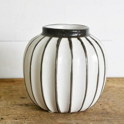 "5"" Fat Gray & White Striped Vase"