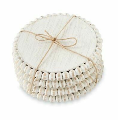 White Beaded Wood Coasters