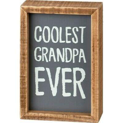 Coolest Grandpa Ever Box Sign
