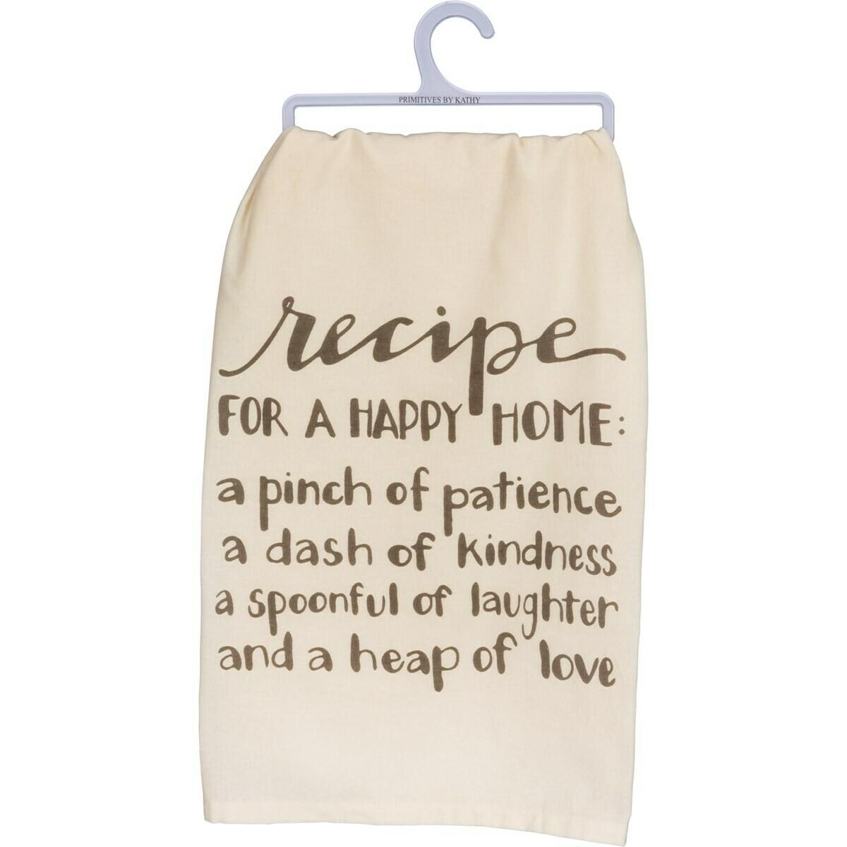 Happy Home Recipe Towel