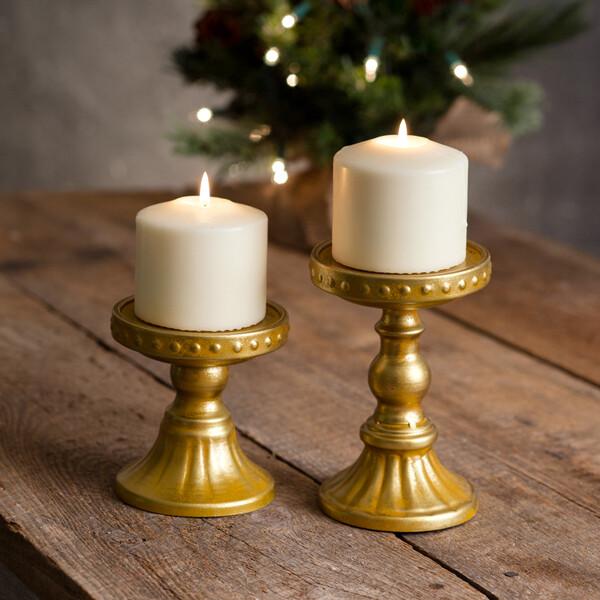 Lg Gold Pillar Candle Holder