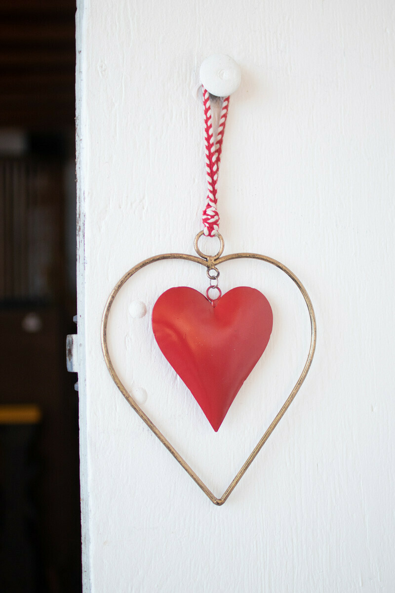 Brass & Red Heart Hanger
