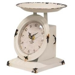 Distressed White Scale Clock