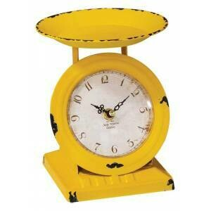Distressed Yellow Scale Clock
